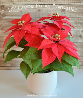 Crepe Paper Poinsettia DIY tutorial